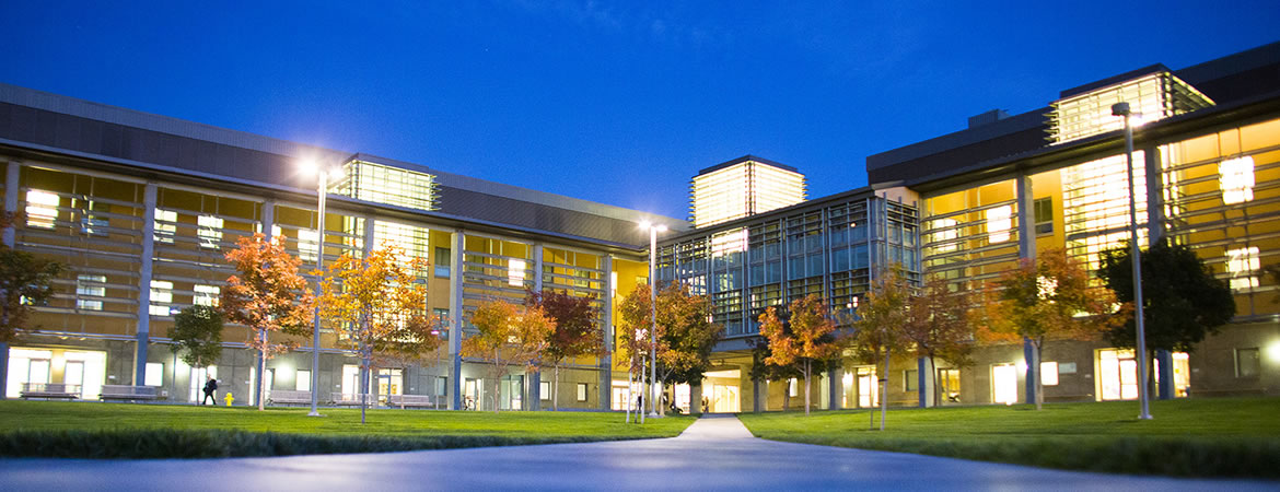 Night shot of Science and Engineering buildings.